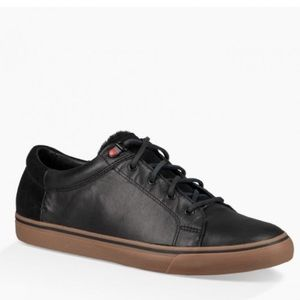 Ugg Brock Luxe Black Leather Sneakers Mens New
